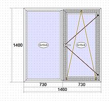 Пластикові вікна Goobkas в будинок П-3 Двостулкове вікно 1460 х 1400 мм (58 мм),Білий