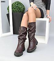Жіночі демісезонні чоботи на низькому ходу 36 р марсала