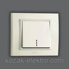 MINA Выключатель 1 клавишный с подсветкой цвет белый