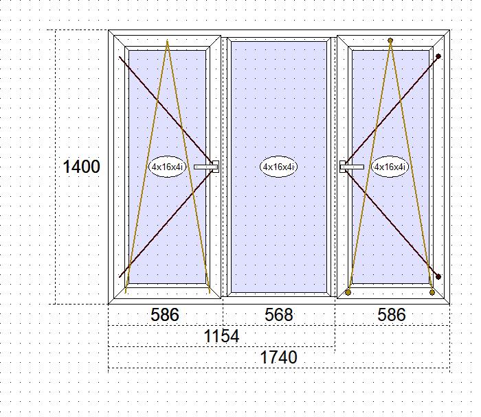 Пластиковые окна Goobkas в дом П-3 Трёхстворчатое окно 1740 x 1400 мм (58 мм),Белый