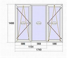 Пластикові вікна Goobkas в будинок П-3 Трьохстулкове вікно 1740 х 1400 мм (58 мм),Білий