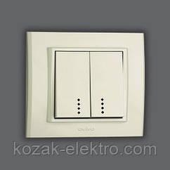 MINA Выключатель 2 клавишный с подсветкой цвет белый