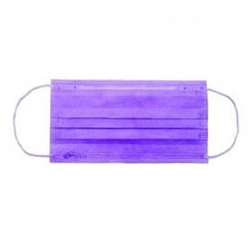 Маска медична тришарова на резинках «Славна®» Фіолетова нестерильна 50шт