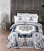 Изысканное сатиновое постельное белье Irina Турция Евро 200*220 Цвет Синий 100% Хлопок
