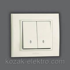 MINA Выключатель проходной 2 клавишный цвет белый