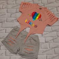 Модный летний нарядный костюм для девочки на 5-6 лет