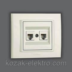 MINA Розетка 2-ая компьютерная (CAT 6) цвет белый