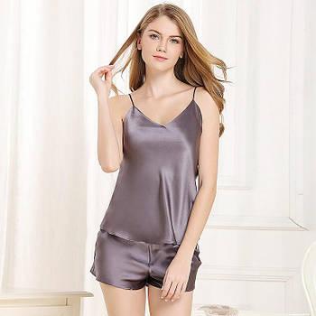 Женская шелковая пижама топ и шорты баклажан  ( размеры 42-54 XS-XXXL)