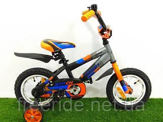 Дитячий Велосипед Azimut Stitch 14 сіро-помаранчевий