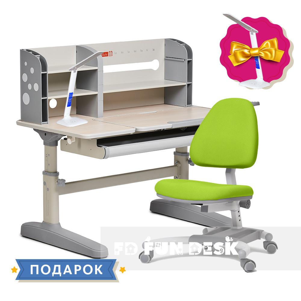 Комплект школьника 👨🏫  парта-трансформер Fundesk Amico Grey + подростковое кресло FunDesk Ottimo Green