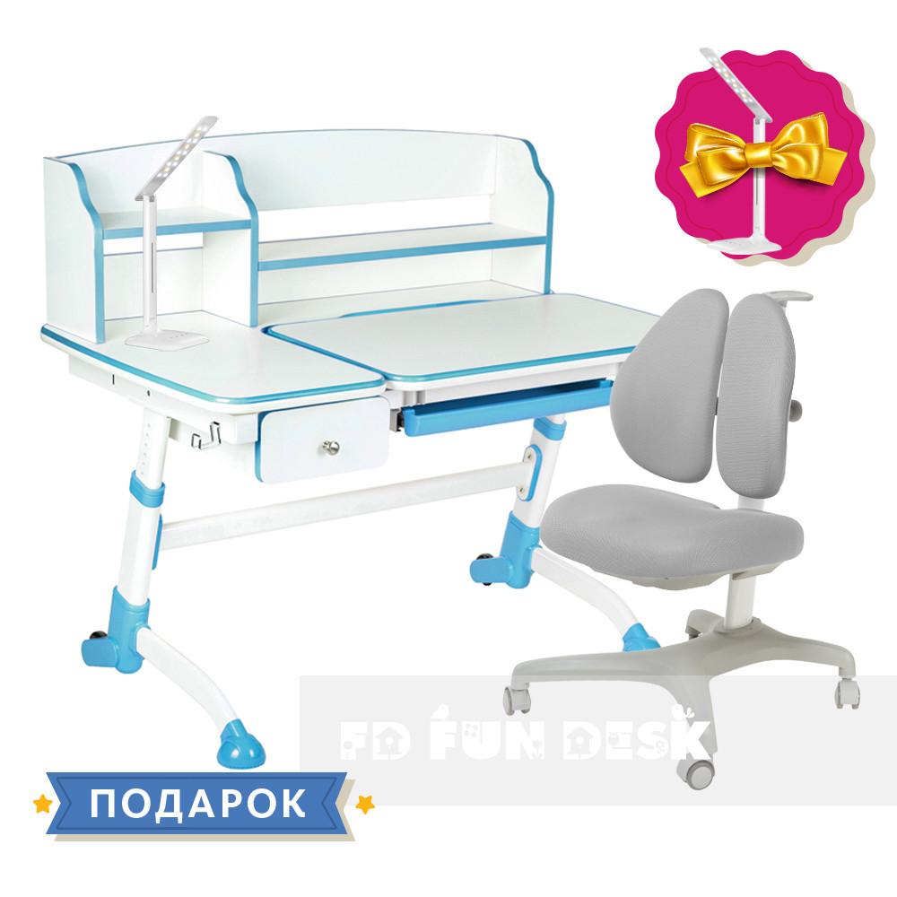 Комплект для школьника парта FunDesk Amare II Blue + кресло для дома FunDesk Bello II Grey