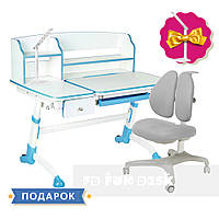 Комплект для школьника парта FunDesk Amare II Blue + кресло для дома FunDesk Bello II Grey, фото 1