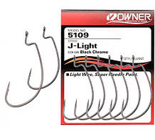 Крючки Owner J-Light Worm Hook 5109 (B-94) №3/0 Black chrome