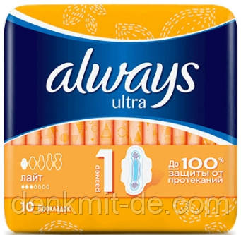 Always Ultra Light, 10 шт., Гигиенические прокладки, 3 капли
