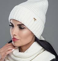 Женский комплект шапка-шарф(снуд) зима Рубин белый