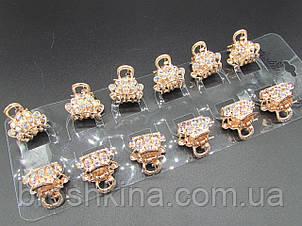 Крабики для волосся 2.2 см метал/кристали хамелеон 12 шт/уп.