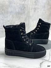 Женские ботинки ЗИМА черные натуральная замша