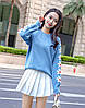 Стильный свитер с вышивкой ромашки 42-46 (голубой), фото 3