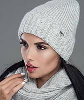 Женский комплект шапка-шарф(снуд) зима Рубин светло-серый