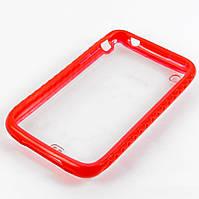 Чехол для iPhone 3 iPhone 3G iPhone 3GS, incase, силиконовый  с прозрачной задней стенкой, красный /case/кейс