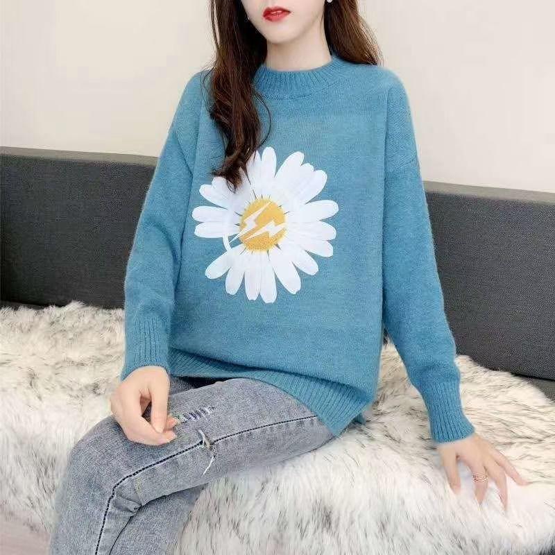 Женский свитер с крупной ромашкой 42-46 (в расцветках)