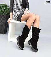 Жіночі замшеві демісезонні чоботи на низькому ходу 40 р чорний