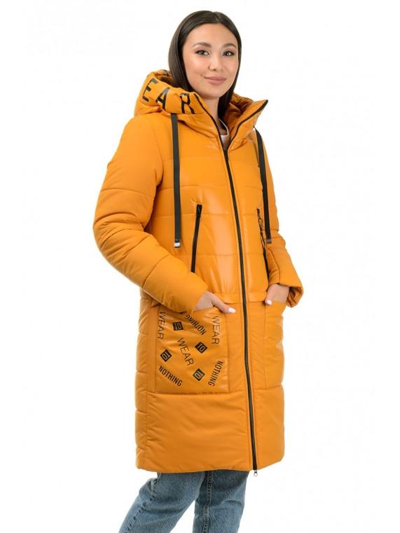 Молодежное зимнее теплое пальто на девочку 42,44,46,48 Горчица