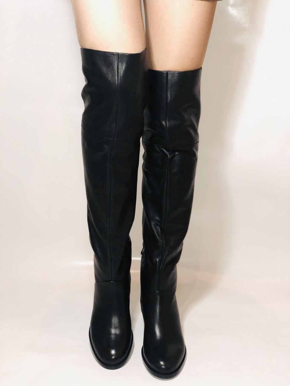 Натуральне хутро. Зимові чоботи-ботфорти на низькому каблуці. Натуральна шкіра. Люкс. Berkonty. Р. 36,39,40.