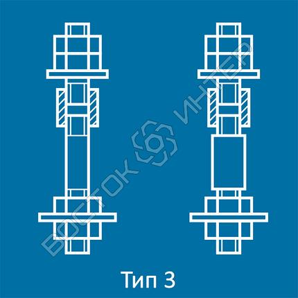 Болты фундаментные составные ГОСТ 24379.1-80  тип 3 исполнение 1 и 2 | Размеры, длина, вес, фото 2