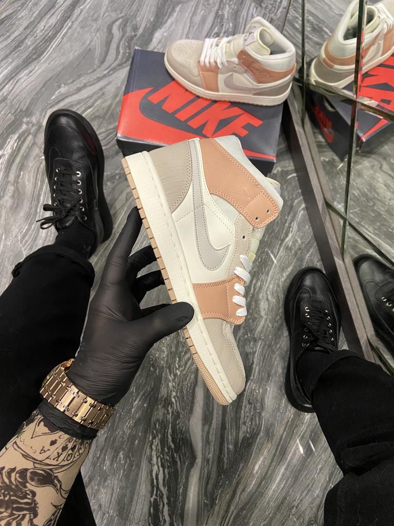 Женские кроссовки  Nike Air Jordan 1 Beige Grey.