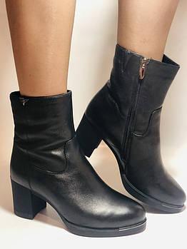 Натуральный мех. Зимние ботинки на среднем каблуке. Натуральная кожа. Люкс качество. Polann . Р. 36-40