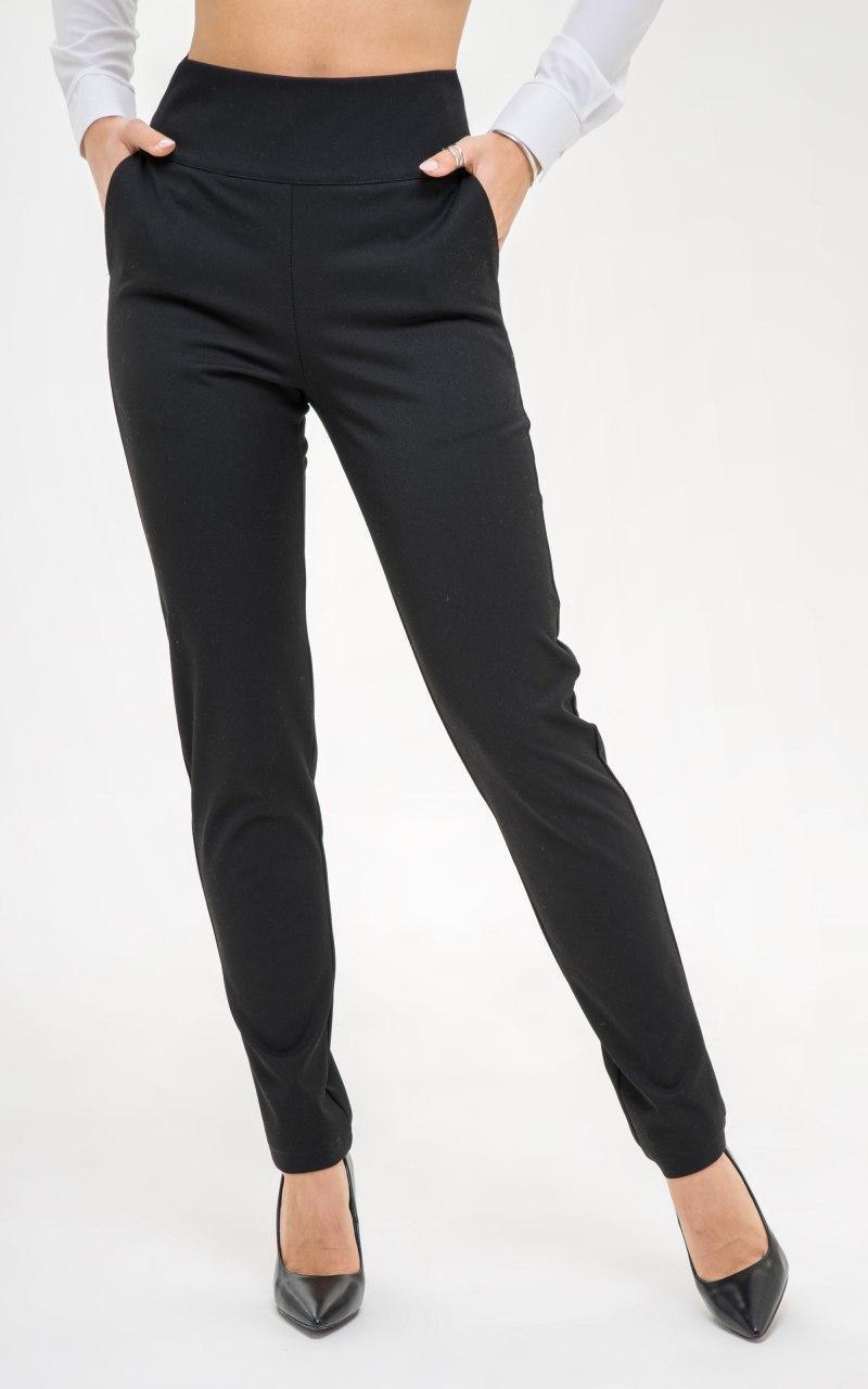 Классические брюки черные на высокой посадке, зауженные к низу (р.S, M, L, XL) 45lr546