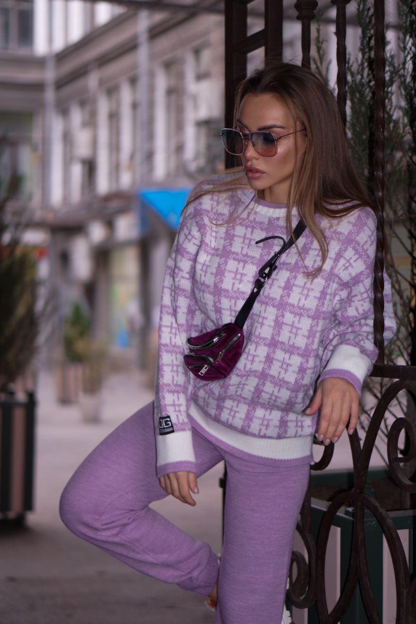 Двухцветный костюм вязаный : свитер в клетку и брюки (р. 42 - 58) 18st1476
