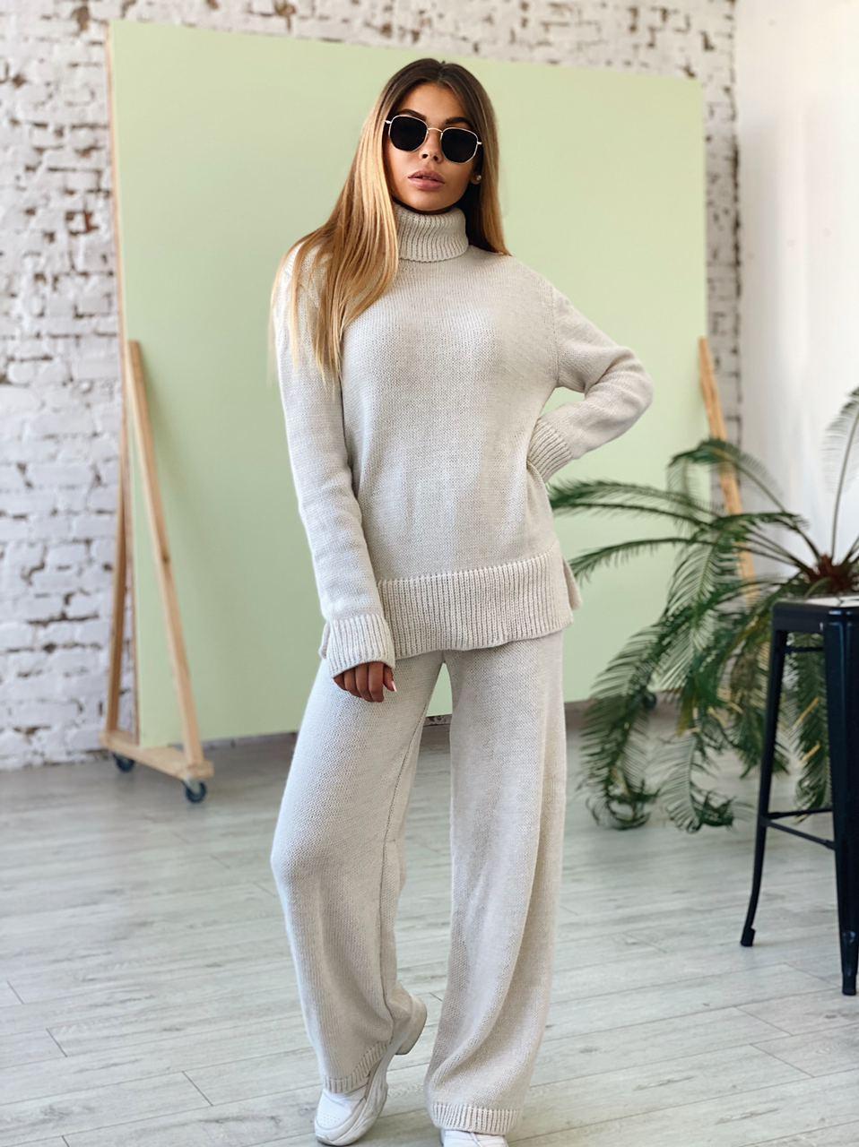 Костюм вязаный женский с удлиненным свободным свитером и широкими штанами клеш (р. единый 42-46) 22st1488