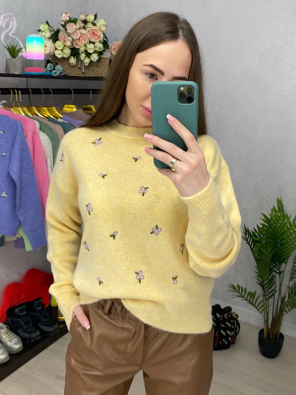 Вязаный свитер женский с мелким принтом в расцветках (р. 42 - 46) 33dm1019