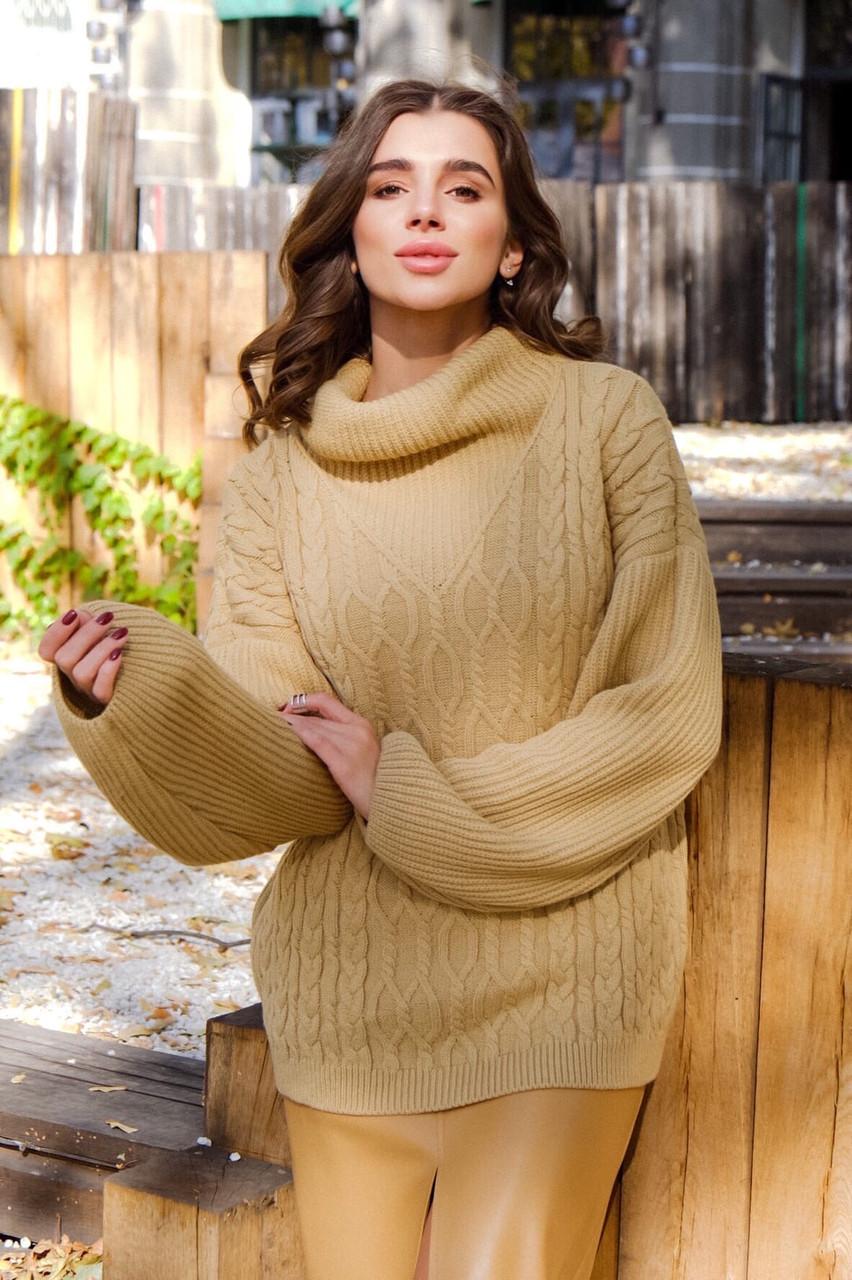 Женский свитер ажурной вязки свободного кроя с воротником (р. 42 - 46) 14dm1022
