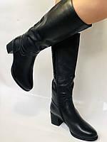 Polann.Зимові чоботи на натуральному хутрі, на середньому каблуці з натуральної шкіри. Р. 38. 39, фото 8