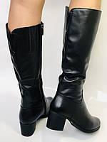 Polann.Зимові чоботи на натуральному хутрі, на середньому каблуці з натуральної шкіри. Р. 38. 39, фото 5