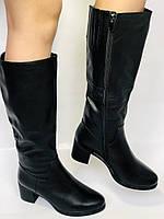 Polann.Зимові чоботи на натуральному хутрі, на середньому каблуці з натуральної шкіри. Р. 38. 39, фото 4