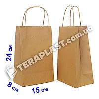Бумажные крафт пакеты с ручками бурые 150х80х240