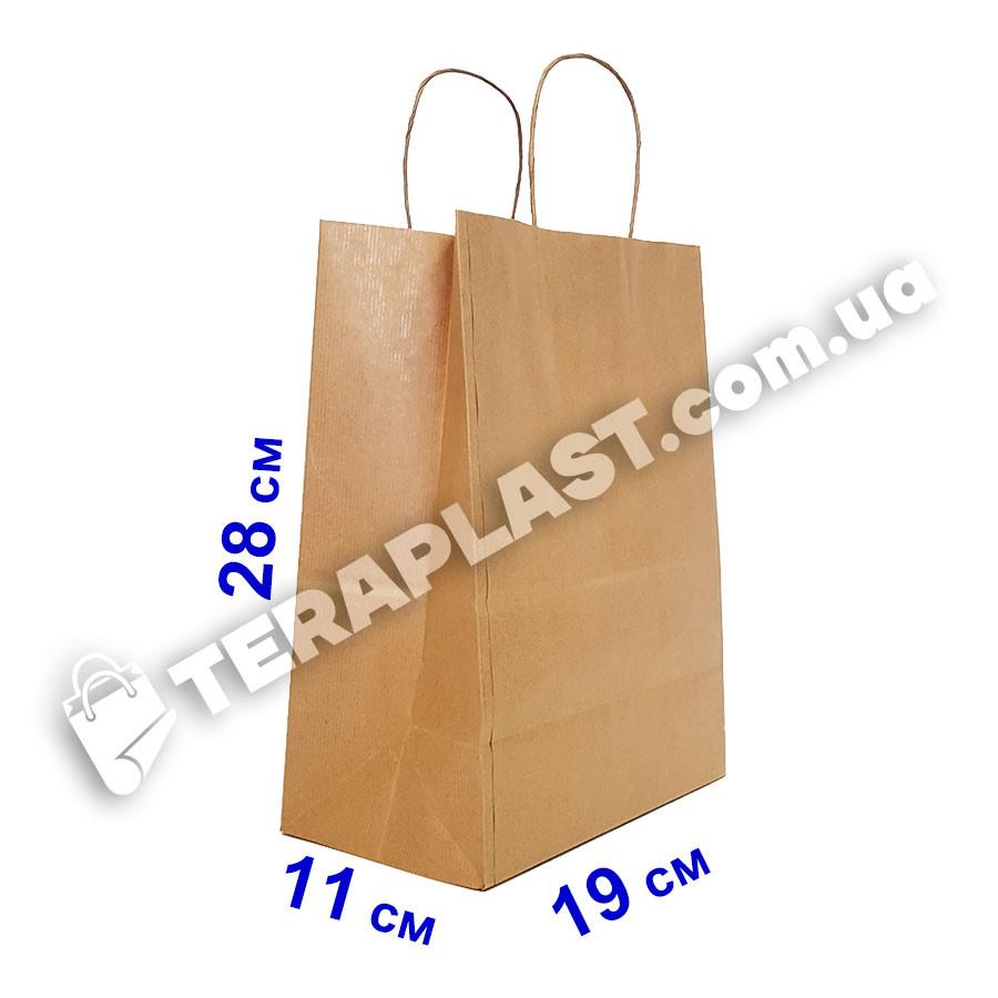 Бумажные крафт-пакеты бурые с ручками 190х110х280