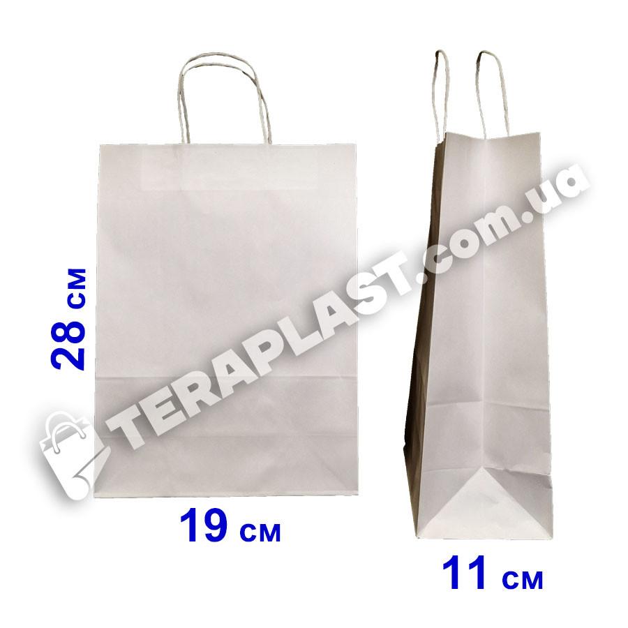 Бумажные пакеты крафтовые пакеты белый крафт с ручками 190х110х280