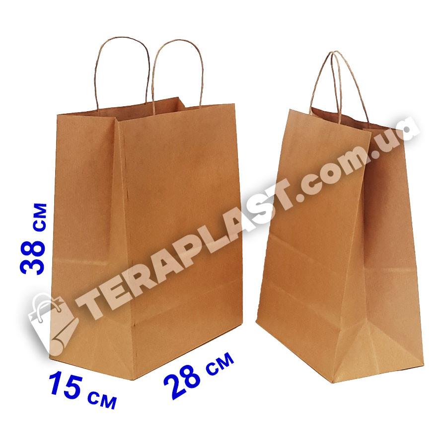 Бурый бумажный крафтовый пакет с ручками 280х150х380