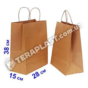 Бурый бумажный крафтовый пакет с ручками 280х150х380, фото 2