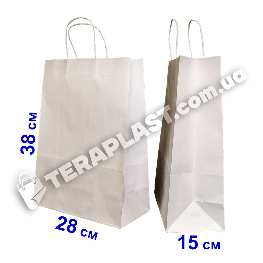 Бумажные подарочные белый пакеты с ручками 280х150х380