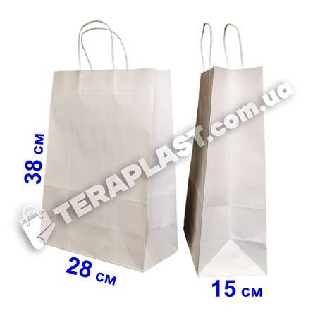 Бумажные подарочные белый пакеты с ручками 280х150х380, фото 2