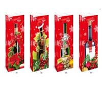 """Пакет подарунковий паперовий під пляшку """"Christmas"""" 12.8*8.4*36 см TL00060"""