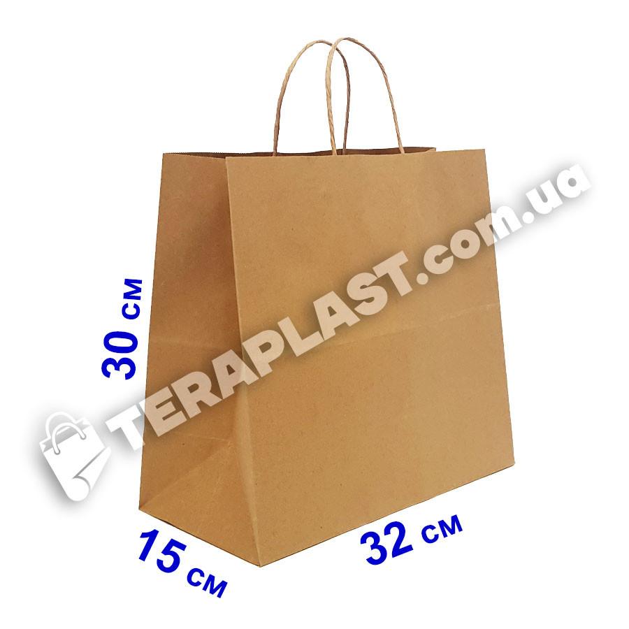 Бумажные крафт-пакеты бурые с ручками 320х150х300, плотность 100 г/м2