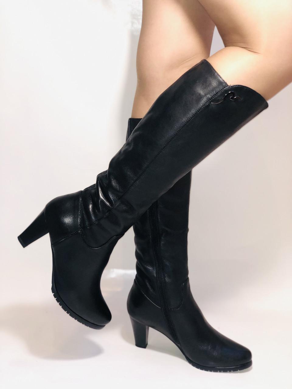 Натуральне хутро. Зимові чоботи на середньому каблуці. Натуральна шкіра. Люкс якість. Molka. Р. 37.38