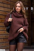Удлиненный теплый женский свитер вязаный больших размеров 46-58 арт 4022